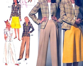 40s Womens suit Retro 1940s pants skirt jacket sewing pattern Simplicity 4044 reissue pattern Sz 10 to 18