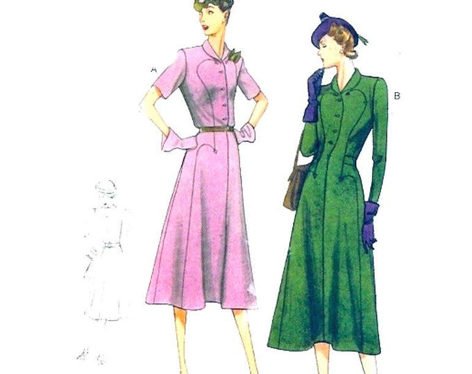 30s Pullover dress Vintage 1939 re issue sewing pattern Vogue 9127  Classic Frock UNCUT size 6 to 14