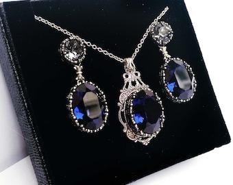 Blue Gothic Jewelry Set Dark Indigo Swarovski Necklace Earrings Oxidized Silver Gothic Jewelry Set hypoallergenic nickel free jewelry