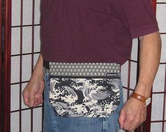 Japanese Waves Design Mens' Waist Fanny Pack Pouch Black