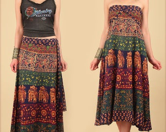 ViNtAgE 70s Indian Cotton Maxi Wrap Skirt // India Block Print // Bias Cut Hippie Bohemian Floral Festival Dress // S M L Free Size