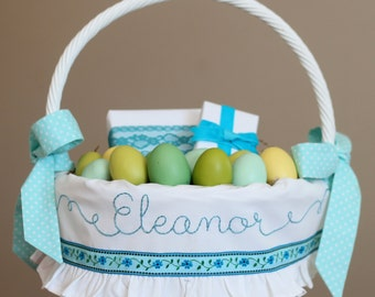 PRE-ORDER Personalized Easter Basket, White Ruffle Easter basket liner, Floral Ribbon Basket liner, Custom Hand Embroidery Aqua