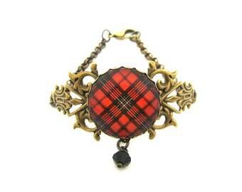 Scottish Tartan Jewelry - Ancient Romance Series - Scott Red Ornate Filigree Half Chain Bracelet with Black Swarovski Crystal Charm