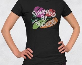Powered By Produce Shirt - Womens Veggie Shirt - Vegetarian Tees - Vegan Tshirt - Juniors fit ladies tee (See SIZING CHART in Item Details)
