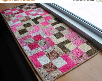 Sale Handmade Quilted Table Runner Brown and Pink  Cotton Batik