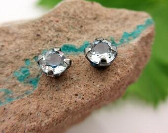 Black Silver White Topaz Stud Earrings, 4mm