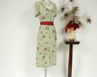 Vintage 1940s Dress - Sheer Mesh Day Dress in Seafoam Green with Fuchsia and Yellow Floral Print by Henry Rosenfeld