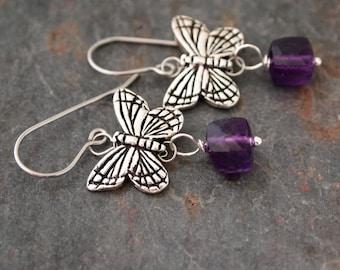 Butterfly and Amethyst Earrings