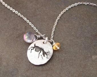 Whitetail Deer Gemstone Necklace