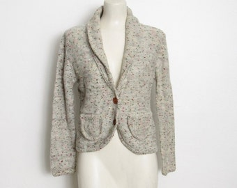 SWEATER SALE Vintage 1970s Cardigan Sweater / White, Light Green & Speckled Knit w/ Wood Buttons / Knit Blazer Style Sweater