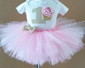 First Birthday Tutu, Pink Tutu Outfit, Girls Tutu Skirt, Tutu-Hair Bow & Bodysuit, Cupcake Tutu Outfit, Tutu Photo Prop