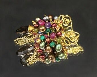 Multicolor Pearl Earrings Red Pearl Colorful Gem Cluster Wire Wrap Earrings, Pearl Smokey Quartz Earrings Gold Rose Post January Birthstone