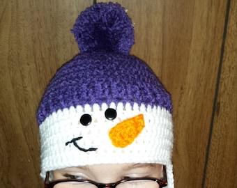 Snowman earflap hat with pom pom