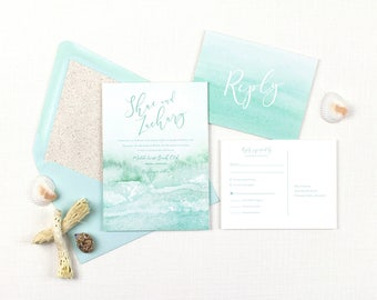 Beach wedding invitations, destination wedding invitations suite, aqua watercolor wedding invitation, tropical wedding, printed invitations