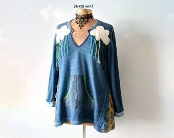 Blue Sweatshirt Upcycled Sweater Women's Fun Clothing Rain Cloud Shirt Cotton Loose Tunic Top Art Wear Fashion Boho Chic Clothes XL 'GRACIE'