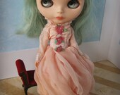 OOAK BLYTHE DRESS - Vintage Styled Shabby Elegance Tattered/Layered/Hand-Dyed Silk Dress  - Peach