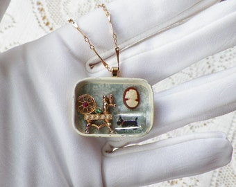 Tiny Vintage Spinning Wheel, Cameo, Scottie Dog Vintage Jewelry Upcycled / Repurposed Vintage Metal Tin Necklace / Pendant, Scene, Diorama