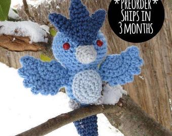 PREORDER - Crochet - Chibi Pokemon Amigurumi - Articuno. Pokemon Plush. Articuno Plush. Pokemon Go. Team Mystic. Gift. Cosplay. Anime.