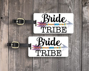 Bride Tribe Luggage Tag Metal Tag Single Tag or Set, Bridesmaids, Maid or Matron of Honor, Man of Honor wedding party gift