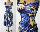 50s Hawaiian Kamehameha Royal Blue Drop Waist Palm & Floral Print Dress // Viva Las Vegas, Tiki Oasis Tropical Pinup Perfection