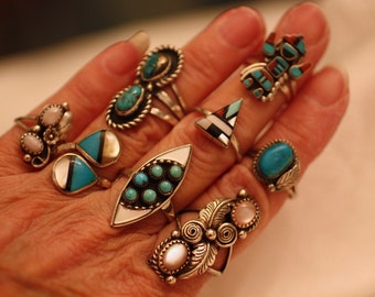 Zuni Turquoise Ring Inlay Six Turquoise Stones Mother of Pearl Silver Marquis Shape Vintage Native American Southwest Boho Ring Size 7 1/4