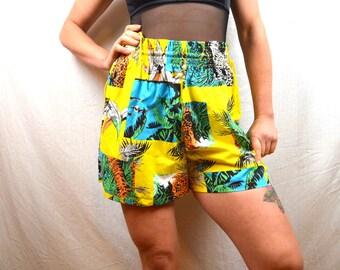 Vintage Tropical Tiger Summer Shorts