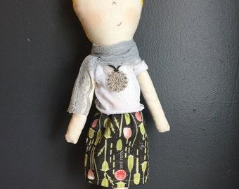 Heirloom Doll, Handmade Doll, Rag doll, fabric doll, sweet doll, Blonde doll cloth doll, textile doll blonde hair