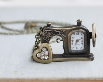 I Heart Sewing Watch Necklace. Gift for Mom