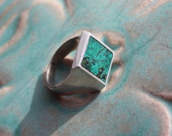 Turquoise Sterling Silver  Ring size 10 Large Mens Square Solitaire VINTAGE by Plantdreaming