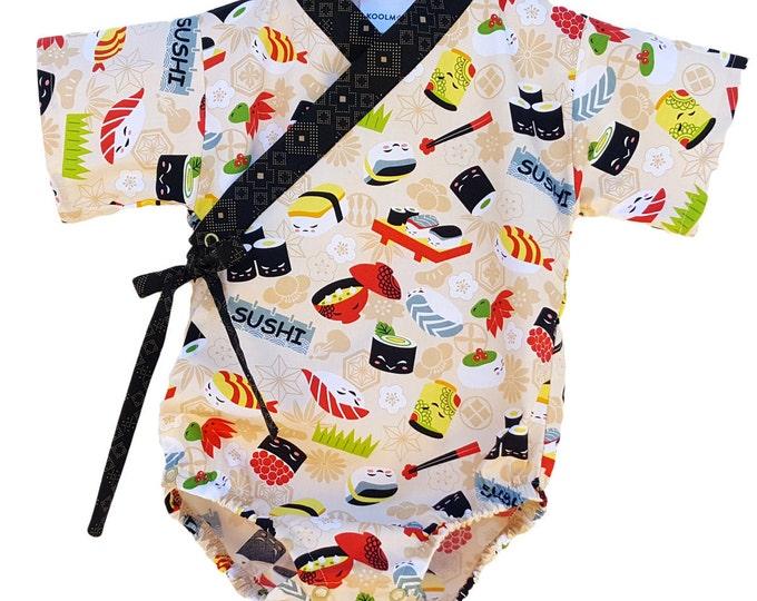 Baby Kimono Bodysuit - SUSHI FEVER - Japanese kimono onesie for baby and toddler