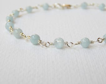 Aquamarine Bracelet - Sterling Silver Rosary Bracelet Beaded Bracelet Beadwork Bracelet Round Aquamarine Bead Bracelet Rosary Chain