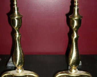 Vintage Antique Cast Iron & Gold Brass Fireplace Andirons Finial Top Dogleg
