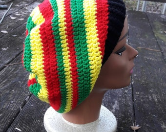 Rasta reggae red yellow green black hippie slouch beanie hat