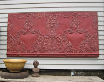 Framed Large 2x4 Antique Ceiling Tin Tile. Architectural salvage display. Tin ceiling panel. Vintage red metal wall art.