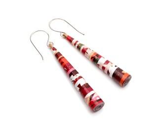 Cherry blossom earrings - Christmas jewelry - Christmas gift for her - Christmas earrings - Beaded jewelry - Paper bead earrings - Christmas
