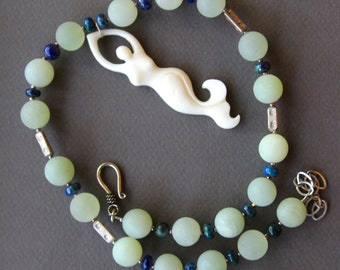 White Mermaid Necklace Carved Bone w Pale Green Serpentine and Azurite Graceful Yoga Pose Ocean Jewelry