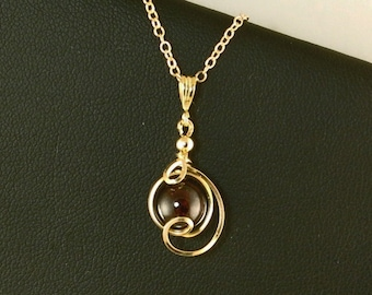 Garnet Gemstone Small Drop Pendant Gold Necklace, Unique Dark Red Garnet Wire Wrapped Gold Chain Necklace, Garnet Jewelry Gift For Her