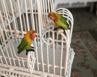 Miniature Love Birds, Green and Yellow Birds, Set of 2, Dollhouse Miniatures, 1:12 Scale, Mini Birds, Lovebirds, Miniature Animal Figurines
