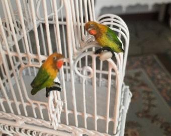 Miniature Love Birds, Green and Yellow Birds, Set of 2, Dollhouse Miniatures, 1:12 Scale, Mini Birds, Lovebirds, Miniature Animal Figurines