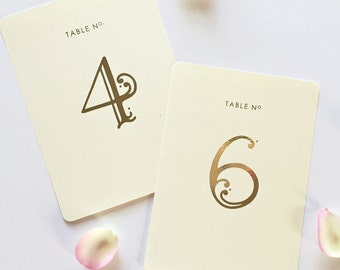 Wedding Table Numbers - Rose Gold Foil - Table Numbers Gold - Flat cards