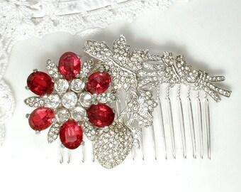 1920s Red Brooch or Bridal Hair Comb, Vintage Art Deco Ruby Rhinestone Silver Wedding Dress Sash Buckle OR Hair Piece Great Gatsby Headpiece