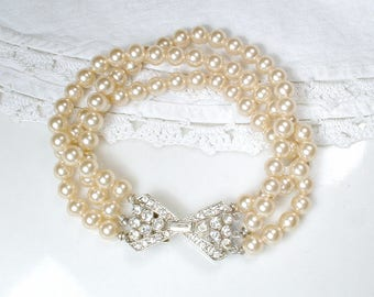 HOLD Original Vintage Marvella Art Deco Pearl Bridal Bracelet, Multi Strand Champagne Ivory Glass Pearl Bracelet Rhinestone Silver Clasp