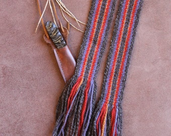 Sash  Handwoven Wool, Strap for Historic Costume, Medieval or Fur Trade Era Costume Sash