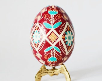Christmas Pysanka Ukrainian egg by artist Katya Trischuk