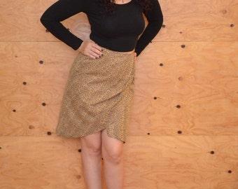 Vintage 80's Leopard Leather High Rise Wrap Pencil Skirt SZ S/M