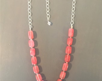 Rose Quartz Sterling Silver Chain Necklace