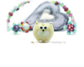 Lampwork Glass Cat Bead 586