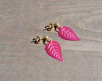 Pink Leaf Sequin Earrings: Brown Leaves Sequin Post Earrings, Girls Jewelry, Teens Earrings