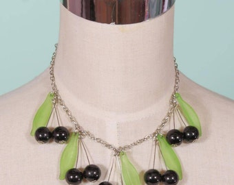 Black Berry Beaded Fruity Necklace
