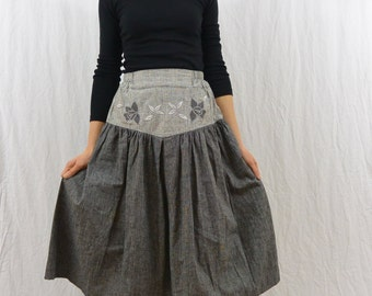 Vintage Mori Girl Skirt, Size XXS-XS, High Waisted, Dark Mori, Forest Girl, Natural Kei, 80's Skirt, Hipster
